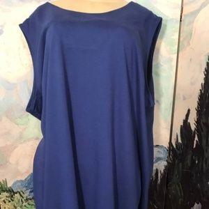 Roaman's Blue Draped V-Back Sleeveless Tunic Top